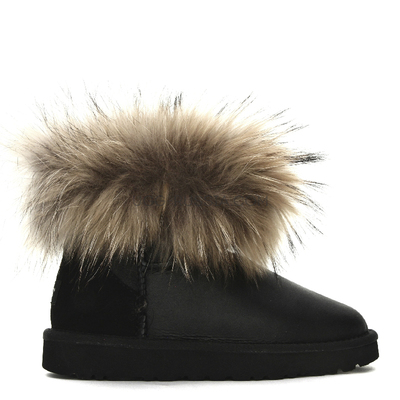 Mini Fox Fur Metallic Black
