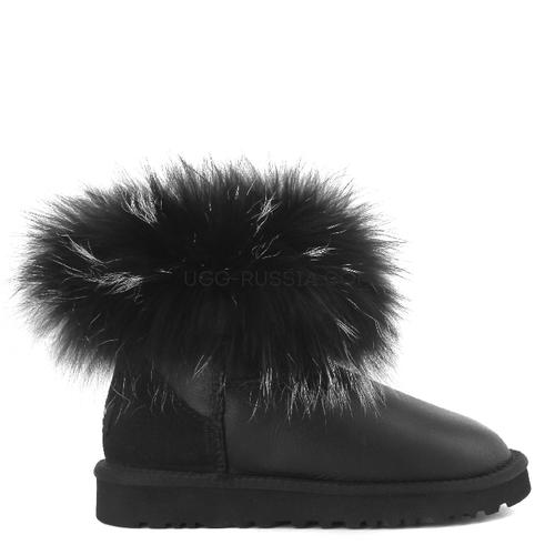 UGG Mini Fox Fur Ultra Metallic Black