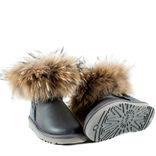 UGG Mini Fox Fur Metallic Grey