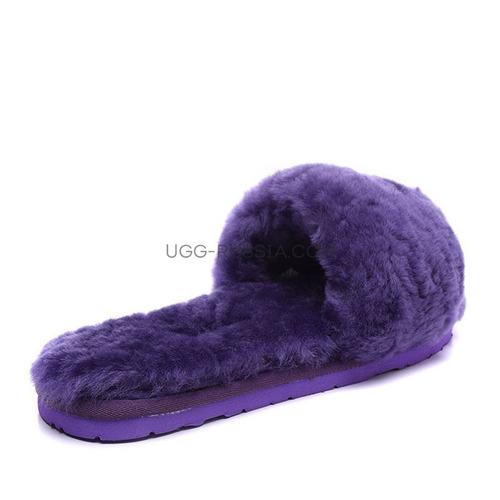 Меховые домашние тапочки Fur Slides  Фиолетовые
