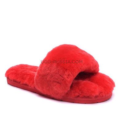 Меховые домашние тапочки Fur Slides Красные
