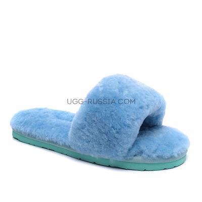 Меховые домашние тапочки Fur Slides Голубые