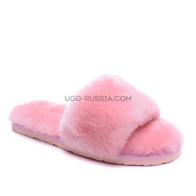 Меховые домашние тапочки Fur Slides Розовые